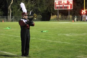 The band showed off its new uniforms at halftime Sept 13. Photo by Lexy Kelly.