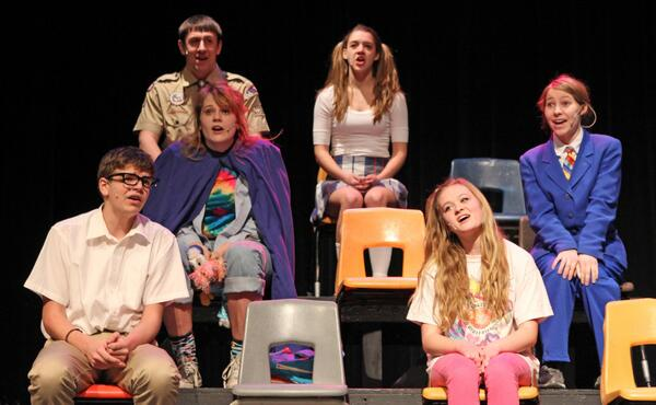 "The cast of ""The 25th Annual Putnam County Spelling Bee."" Photo by Hannah Wieditz"
