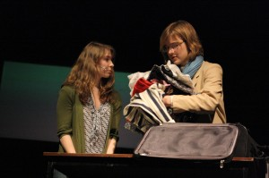 Clara Brandt (Aubrey Lyon) talks to her mother Dr. Katherine Brandt (Nicole Margheim) as she packs for her research trip to Bonn, Germany. Photo by Hannah Wieditz.
