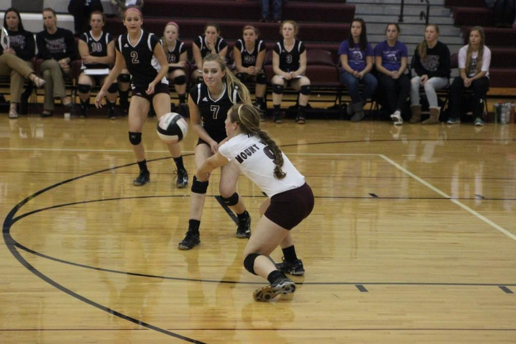 Mount Vernon's libero, Libby Ryan, digs up an attack against Benton Community. Photo by Claire Pettinger.