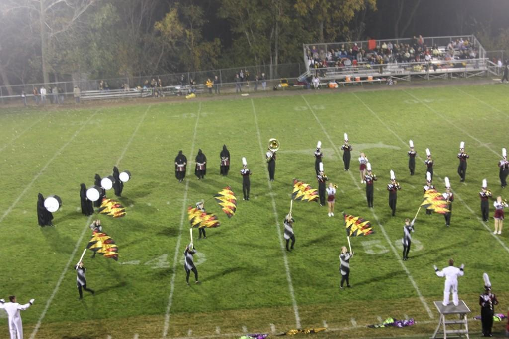 The band performs at halftime