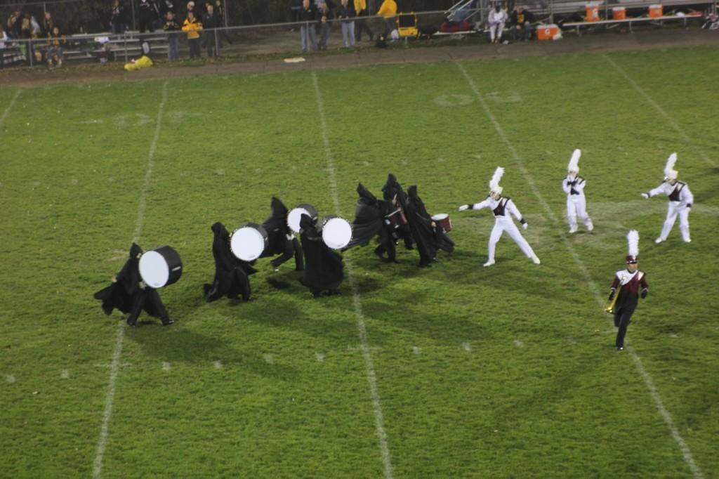 The marching band performs their halftime show Oct. 24. The music is from Harry Potter, and the band is directed by Bernie Moore. The drummers dressed as dementors.