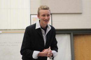 Matt HermsenWhite performs his role of Ellen Degeneres, who hosts a celebrity Hunger Games. Photo by Maggie Rechkemmer.