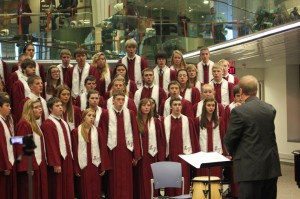 The MVHS choir performs at the University of Iowa Hospital on Dec. 15.