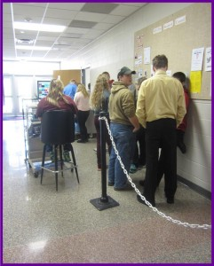 Students wait in the lunch line. Photo by Jenna Brannaman.