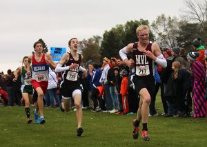 State cross country champs Chase McLaughlin and Jack Young both scored times of 16:50.6, placing 12th and 13th. Photo by Faith Anton