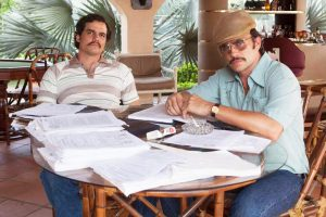 """Pablo Escobar and his cousin, Gustavo, discussing business in """"Narcos"""""""