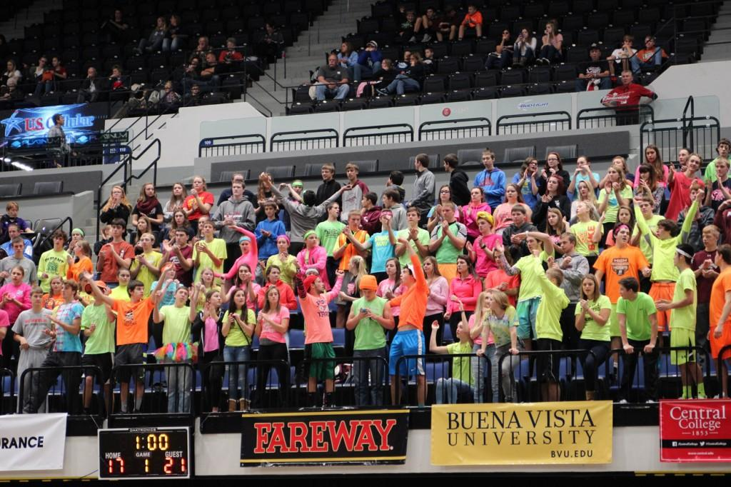 The Mount Vernon fans dressed in neon. Photo/ Maggie Rechkemmer.