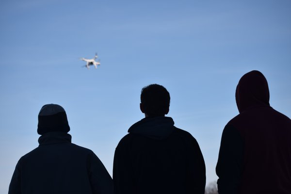 Students take their drone out for a spin in the popular science j-term class. Photo/Marissa Cranston.