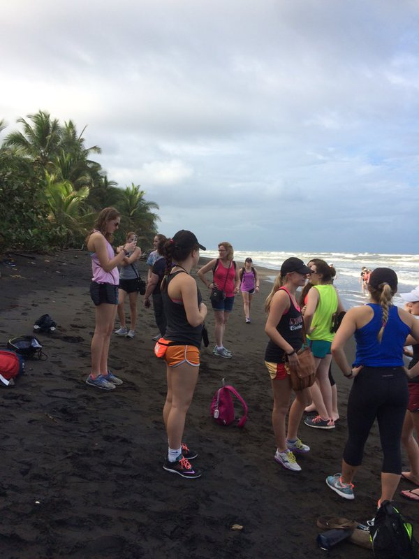 Spanish students took a J-term trip to Costa Rica and Nicaragua. Here they are on the beach in Tortuguero Island. Photo/Rachel Bell.