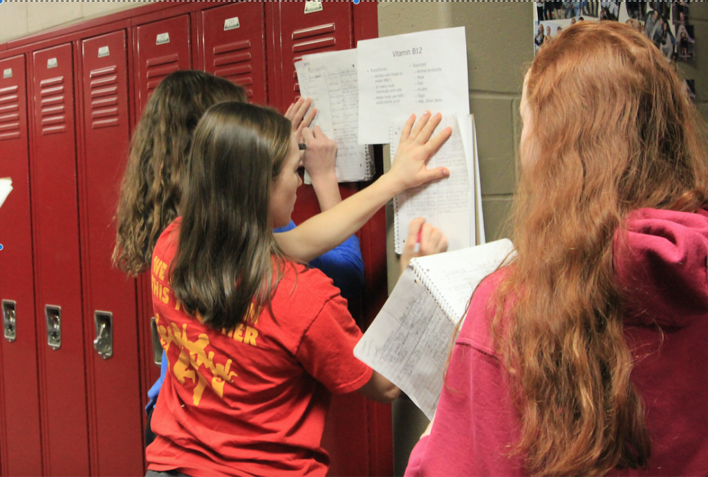 Freshmen in health class get moving to learn about vitamins. Photo/Marissa Cranston.
