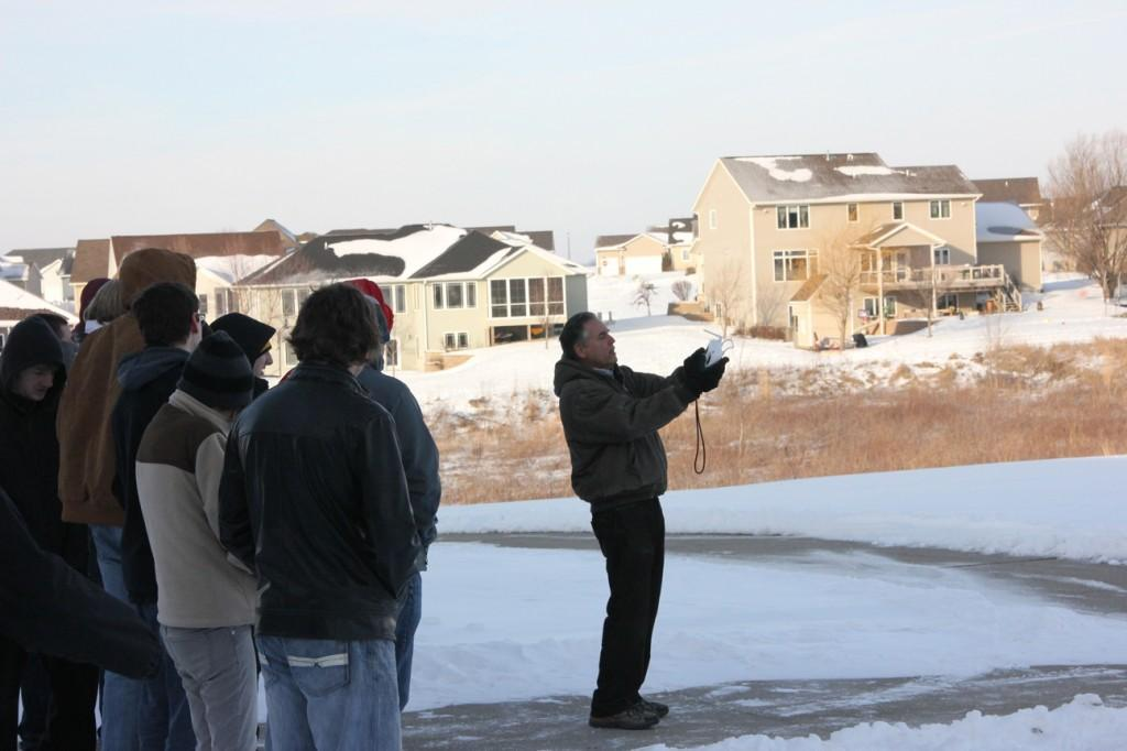 Science teacher Richard Scearce demonstrates the use of the drone on the second day of J-term, Jan. 5. Photo/Ian Reid.