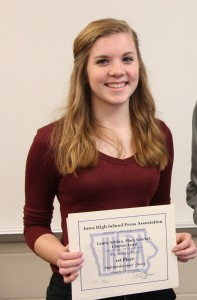 "Macy Griebel won an individual awards of 3rd Place fo her Personality Profile ""Heart of Metal."" Read it here: http://themustangmoon.com/?p=4808. She also won an honorable mention for her video story ""Are You Game."""