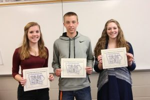 Macy Griebel, Clayton Loyd, and Laura Adrian placed 1st in IHSPA Multimedia News Story. View it here: http://themustangmoon.com/?p=5161
