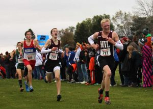 Jack Young and Reid Smock compete at the state meet Oct. 31. Photo by Faith Anton.
