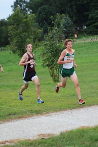 Finishing with a time of 16:45, Senior Jack placed first at the home cross country meet on Aug. 23. Photo by Kelsey Shady.