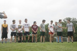 Thatcher Krob, Chase McLaughlin, Zach Krogmann, Liam Conroy, and Jack Young received medals for placing in the top 10 as individuals at the home meet Aug. 23. Photo by Yves Cotterill.