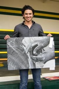 Journey Dawa shows his chalk portrait.
