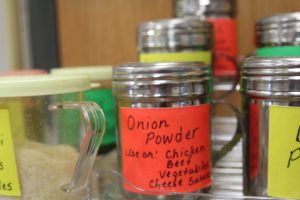 Toss some onion powder on top of chicken, beef, and vegetables.
