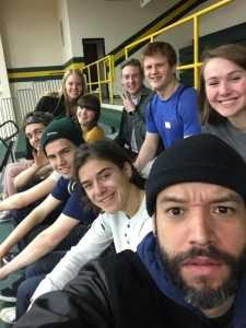 Mr. Sotillo poses in a selfie with students before the day starts. Front Row: M. Mcieszinski, A. Rand, B. Christensen, O. Egolf, A. Krob, E Sotillo.  Back Row: E. Wenz, B. Cox, K. Margheim.