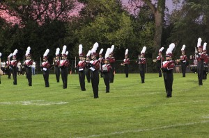 The marching band performs before the game Sept. 16. Photo by Paige Zaruba.