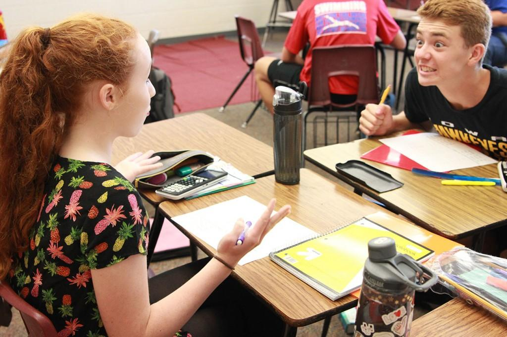 During geometry sophomores Abigail Patten and Brynden Fisher argue over their measurements on the first day of block. Photo by Abby Davidson.