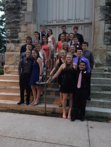 Trym Anderson's group takes pictures at Cornell before the dance.