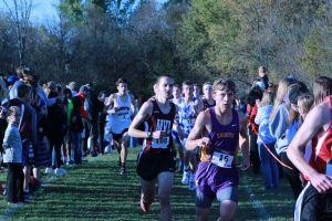 Jack Young, senior, competes at the districts meet.