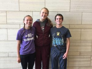 Quinnie Rodman, Kathryn Opperman, and Ryan Clark are auditioning for All-State Choir. Photo by Lauren Hauser.