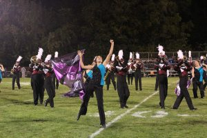 Sammy Edwards performs during half time at the Homecoming game against Anamosa. Photo by Summer Everhart