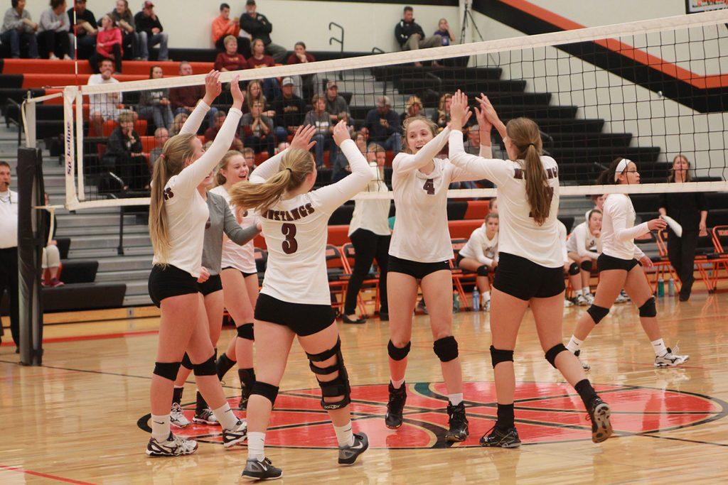 Mount Vernon celebrates a point at regional finals in Washington Monday to advance to 3A state.
