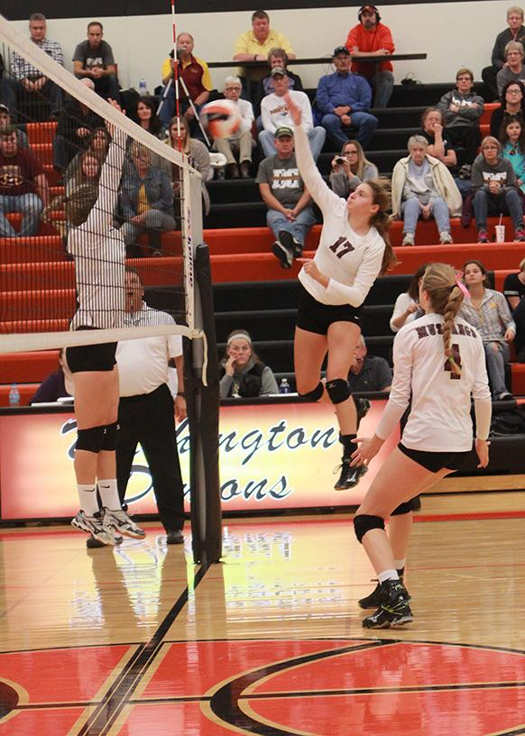 Kaitlyn Volesky spikes one for the Mustangs. Volesky had 12 kills against Davis County.