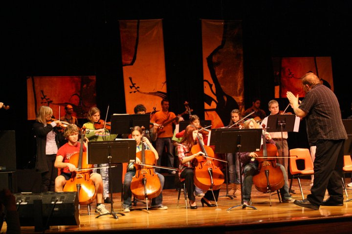Orchestra students perform with Barrage