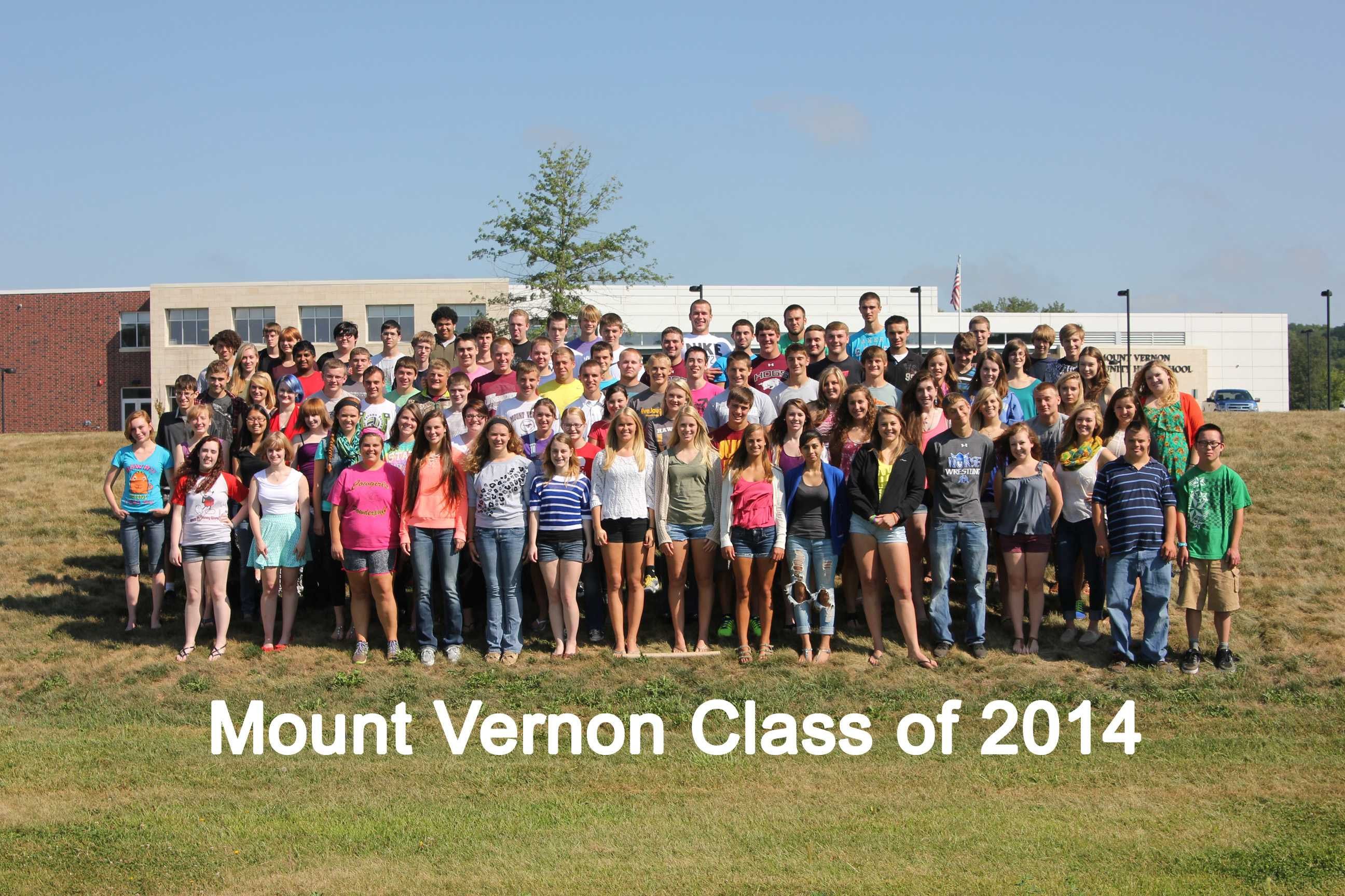 Mount Vernon High School seniors pose in front of the school on August 23.