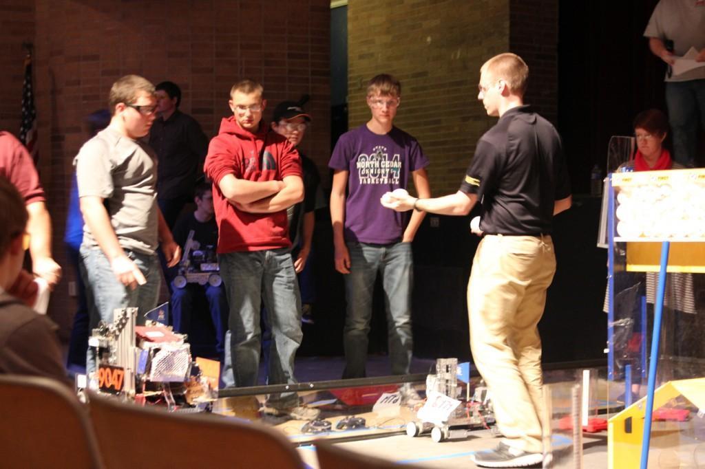 The robotics team competes Dec. 2 at Cedar Rapids Jefferson. Photo by Sam Marshall.