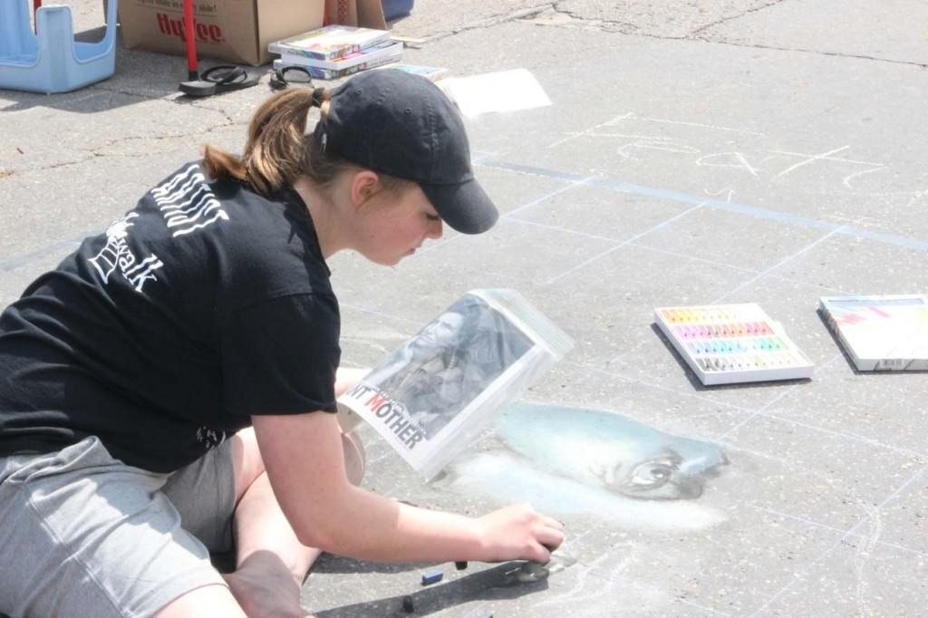 Maggie Lynott, a freshman, was the featured artist at Chalk the Walk May 2-3 in Mount Vernon.