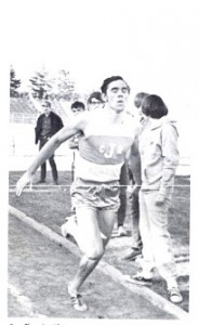 Dennis Roloff crosses the finish line in the 440 yard dash. Photo scanned from his 1971 Jefferson High School yearbook.