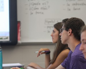 Junior Derk Keller watches attentively while learning  in Spanish class.  Photo by: Lauren Hauser