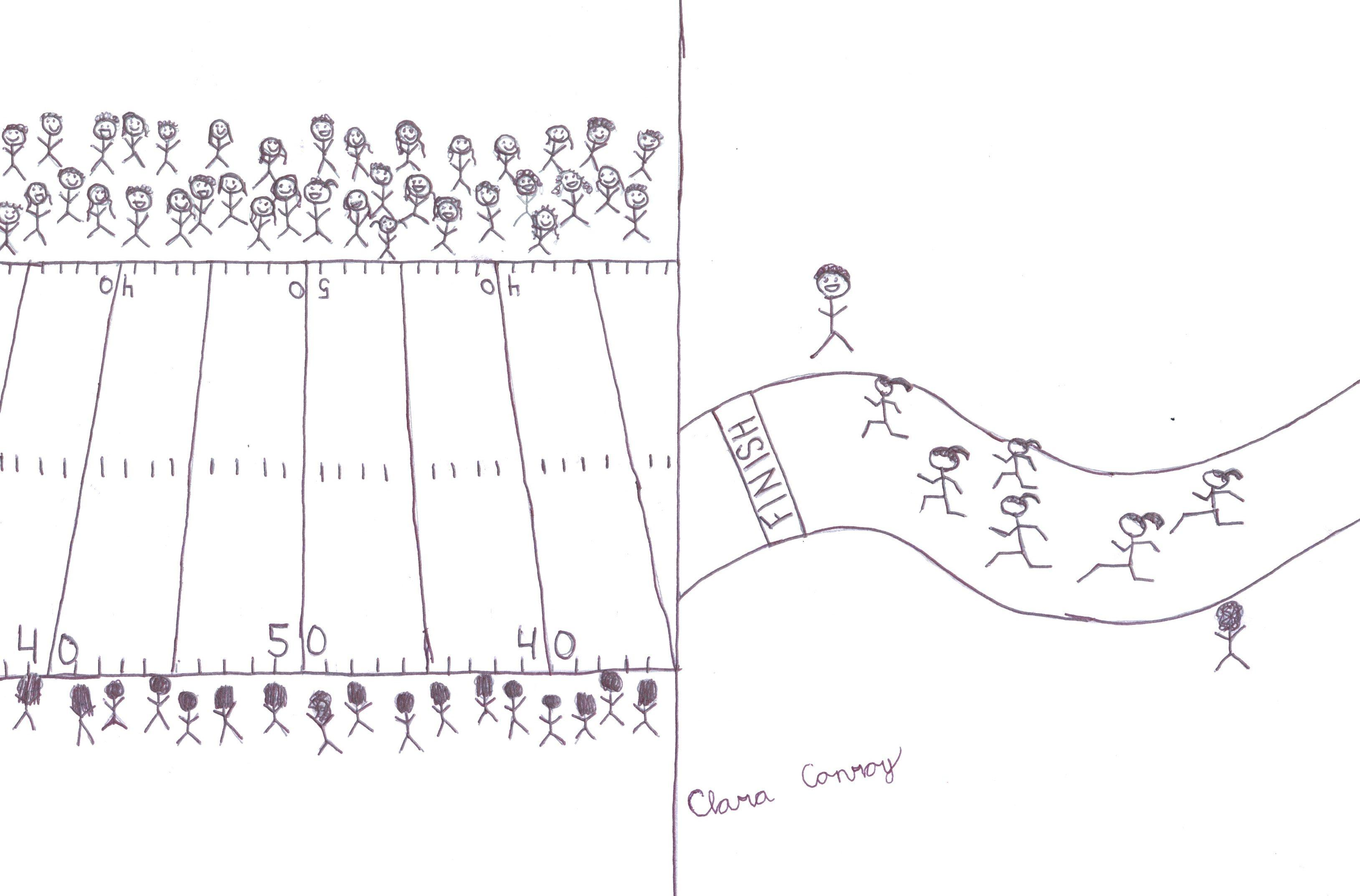 Cheer for Cross Country Cartoon by Clara Conroy