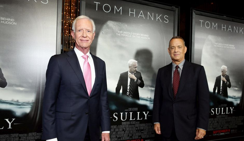 Author Chesley Sullenberger and Tom Hanks seen at the Los Angeles Industry Screening of Warner Bros. Pictures and Village Roadshow Pictures