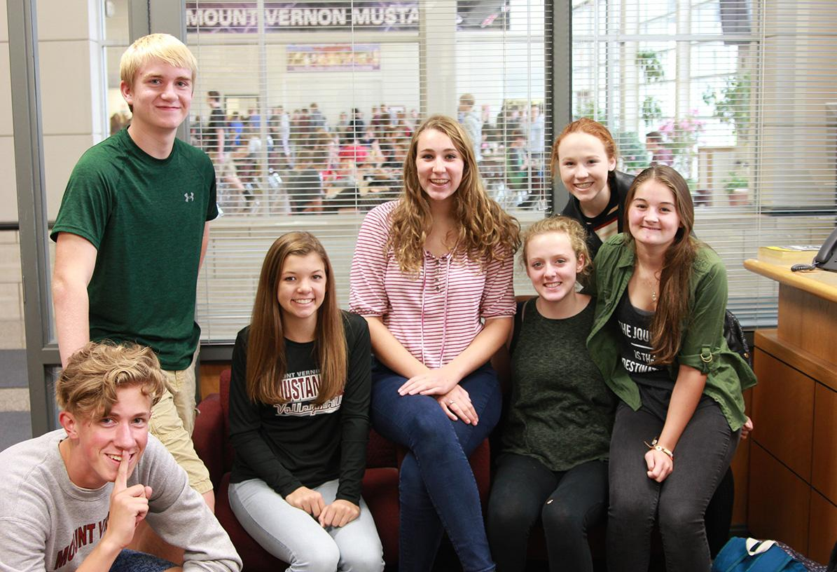 The Academic Decathlon Team: Caden Eskelsen, Jeremy Ferguson, Paige Zaruba, Jenna Baumler, Emma Walsh, Abby Patten, and Rachel Lochner. Photo by Jake Panos.