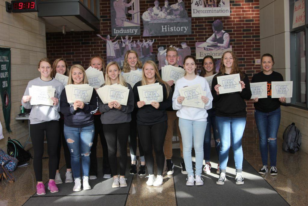 IHSPA INDIVIDUAL AWARD WINNERS: Front Row: Kelsey Shady, Maggie Rechkemmer, Bailey Priborsky, Jessie Brokel, Breanna Jones, Laura Adrian. Back Row: Grace Pelley, Alyssa Maddocks, Rachel Bell, Ethan Wenz, Sydney Hauser, Haley Hepker. Absent from photo: Abby Davidson, Emma Klinkhammer, MIckey Hines, and Taylor Sherman.