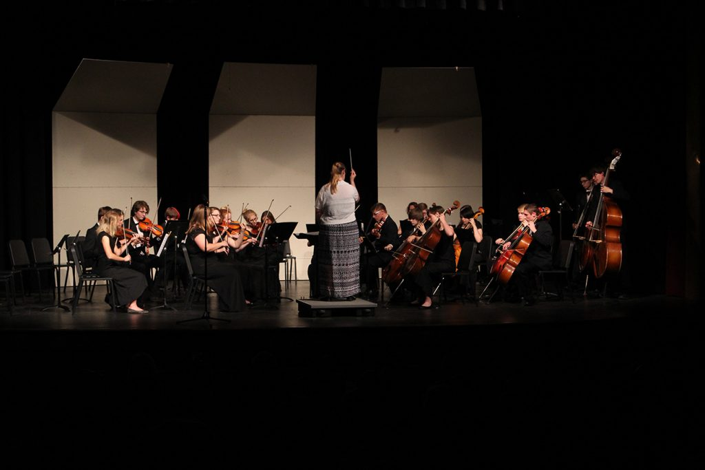 The high school orchestra performs Oct. 18 in the district auditorium. Photo by Lexi Flockhart.