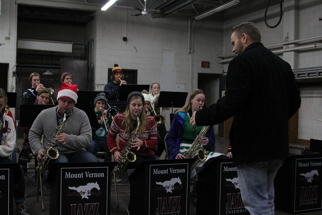 Mr. Webber instructs the jazz band on Magical Night, Dec 1. Photo by Lexi Flockhart