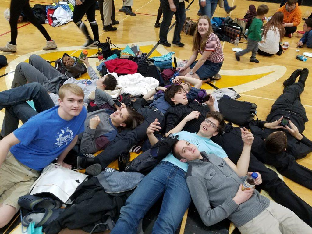 The individual speech team takes a break together at state competition. Photo by Tawnua Tenley.