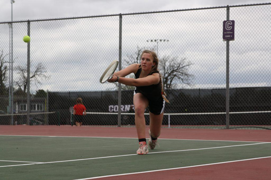 Vandersall strides to make a save in her match against Marion on April 20. Photo by Megan Zobac
