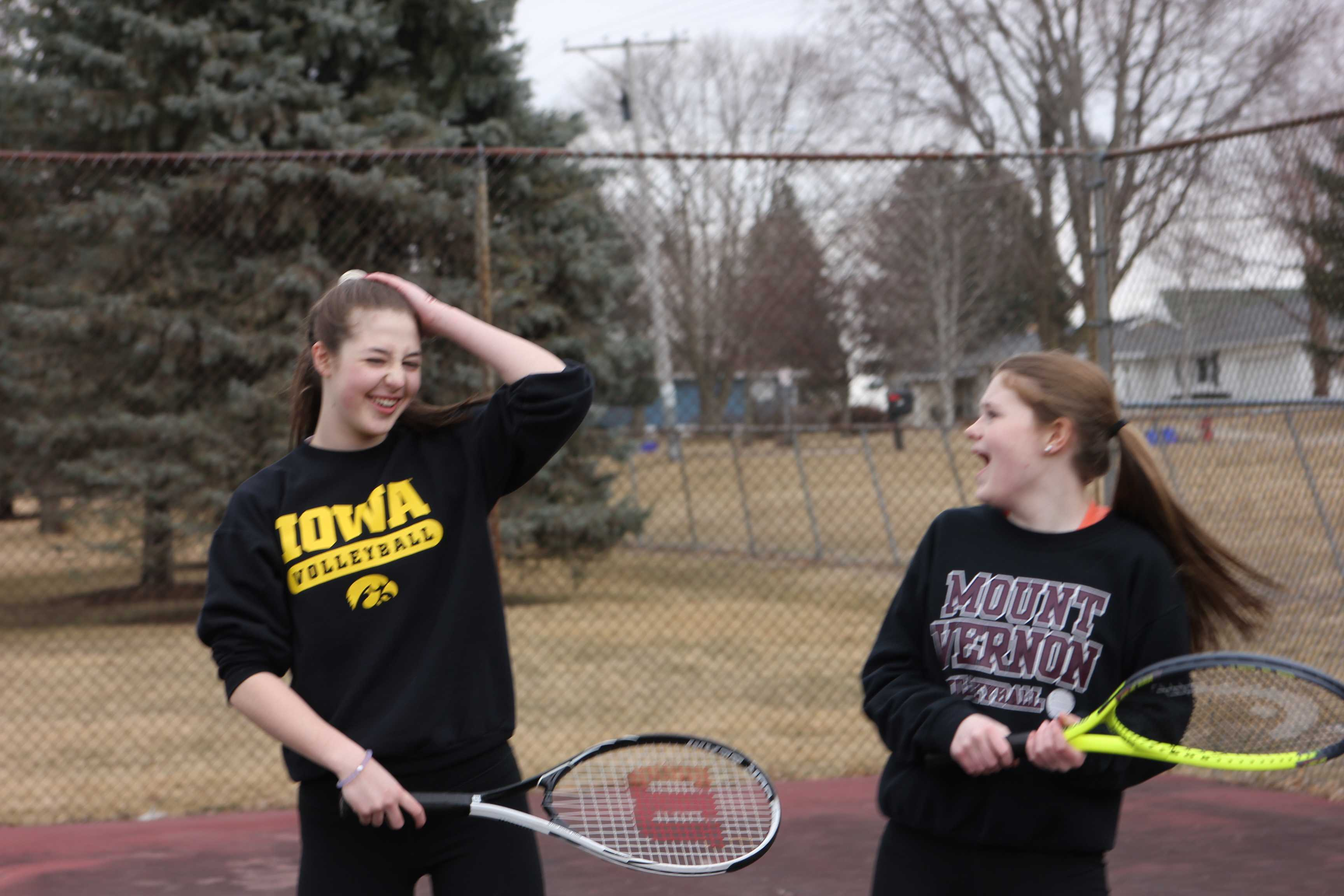Tennis Team Practices Before the Snow
