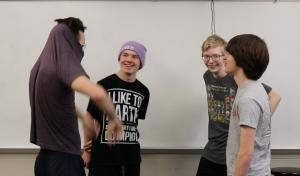 Eli Webster, Jasper Rood, Lance Ericson, Kai Yamanishi rehearse imrov after school in December.
