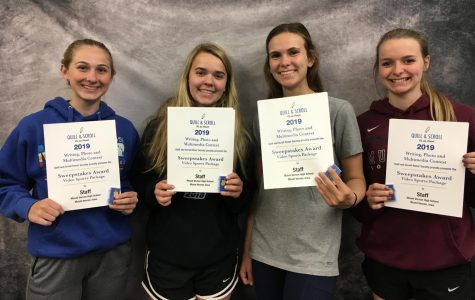 Taking first place in the Video Sports Package were (from left) Kendra Streicher, Reagan Light, Caroline Voss, and Caitlin Babcock. Not pictured: Mattie Hansen, Lauren Hauser, and Catherine Yeoman.