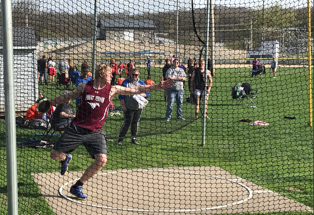 Senior discus Thrower Matt Vislisel prepares to throw the discus at a track meet in Anamosa.